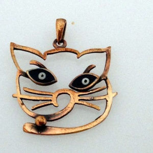 Hand made Aged copper necklace Cat